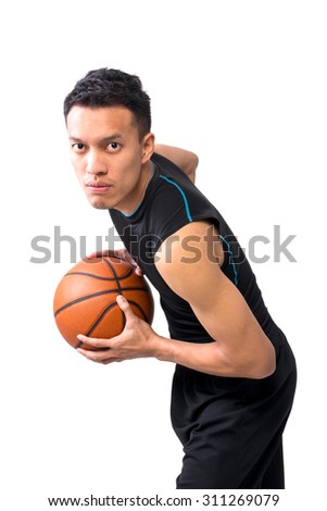 Studio Portrait of Asian Basketball Player Isolate On White Background