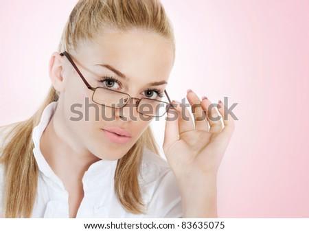 studio portrait of beautiful fashionable blonde woman - stock photo