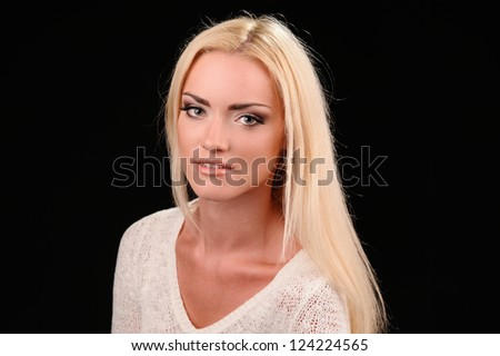 Studio portrait of beautiful sexy girl  in fashion style - stock photo