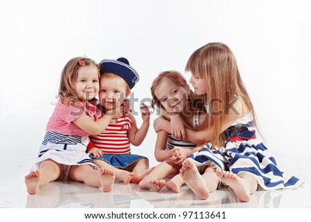 Studio portrait of children sea theme