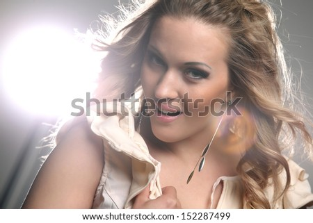 Studio portrait of fashionable girl