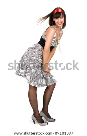 Studio portrait of girl's style pin-up, European, White, Caucasian