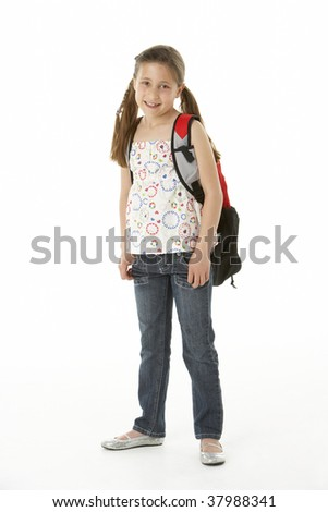 Studio Portrait of Girl Standing with backpack - stock photo