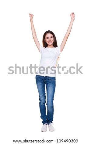 studio portrait of smiley happy girl over white background
