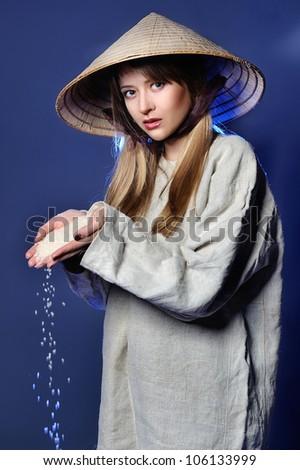 Studio portrait of the  charming girl - stock photo