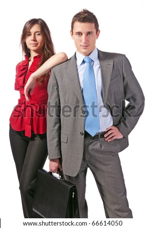 Studio portrait of two businessmen with a portfolio. Isolated on white - stock photo