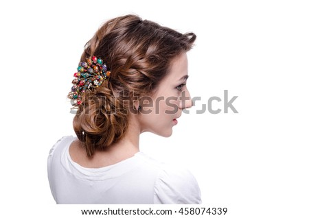 Studio portrait of woman with hair style on white background.