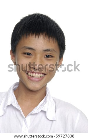 Studio Portrait Of young asian Boy - stock photo