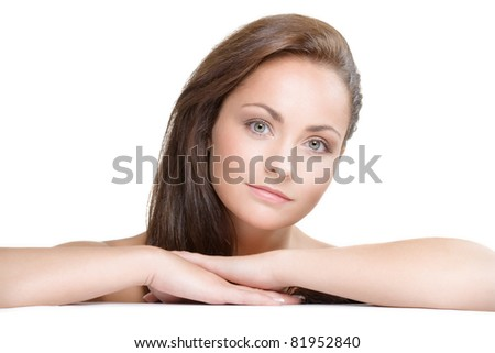 studio portrait of young beautiful woman - natural beauty concept - stock photo