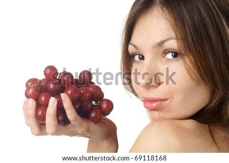 studio portrait of young beautiful woman with grape isolated on white background - stock photo