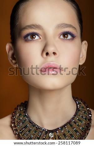 Studio Portrait of Young Gentle Fashion Model - stock photo
