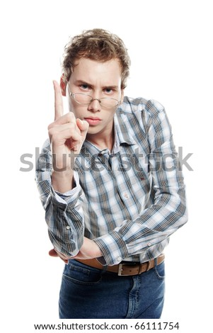 studio portrait of young handsome man over white - stock photo