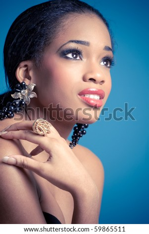 Studio portrait of young sensual happy woman, isolated - stock photo