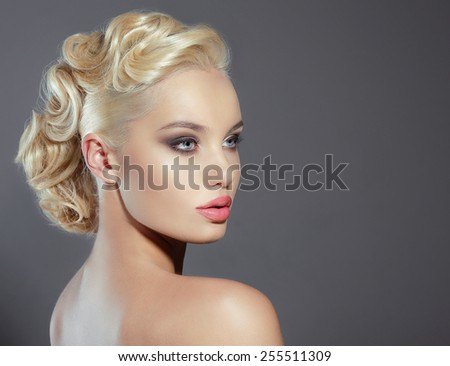 Studio Portrait of Young Woman Blonde - stock photo