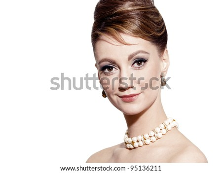 studio portrait of young woman, classic retro styling, isolated on white - stock photo