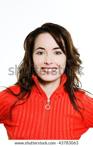 studio portrait on isolated background of a beautiful  caucasian expressive woman smiling - stock photo
