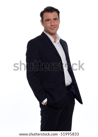 studio portrait on white background of a hansdsome man - stock photo