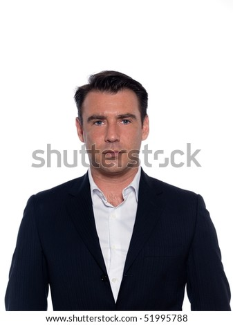 studio portrait on white background of a hansdsome serious man - stock photo