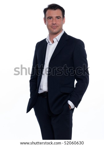 studio portrait on white background of a happy hansdsome man - stock photo