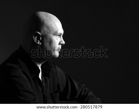 Studio portrait portrait caucasian bald men. Emotions. Serious  - stock photo