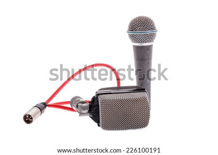 studio recording groups of microphones for lead vocal on live gig  or for drums ,  music instruments for performance isolated on white - stock photo