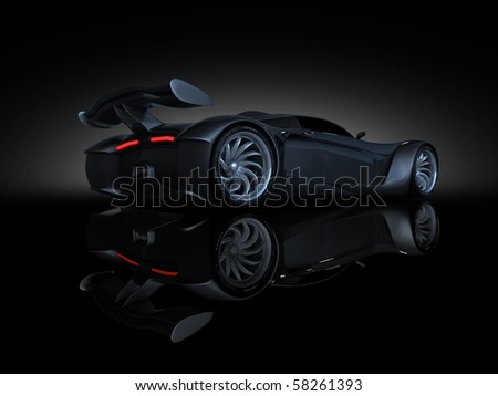 studio render sport concept car side view text - stock photo