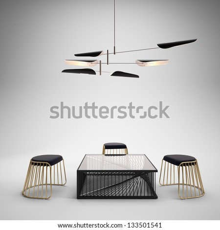 Studio setup with modern furniture