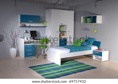 studio shoot of teenage room - stock photo
