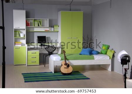 studio shoot of teenage room - stock photo
