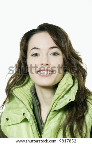 studio shot isolated portrait of a beautiful smiling girl on white background - stock photo