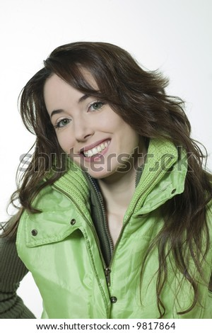 studio shot isolated portrait of a beautiful smiling girl on white background - stock photo
