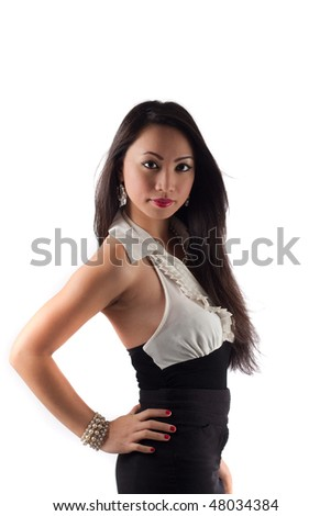 Studio shot of a beautiful sexy young asian woman, isolated on white - stock photo