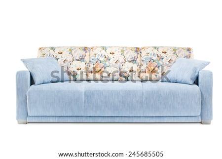 Studio shot of a blue sofa on white background - stock photo