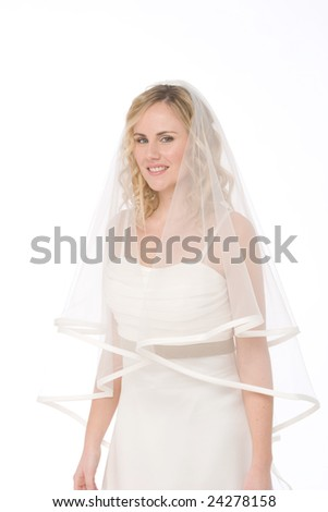 studio shot of a bride isolated on white background