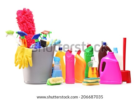 Studio shot of a bunch of cleaning products isolated on white background - stock photo