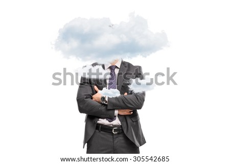 Studio shot of a businessman hidden behind a few small clouds isolated on white background - stock photo