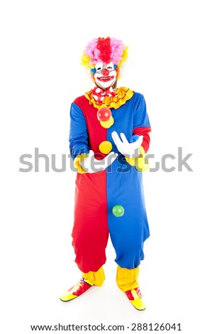 Studio shot of a Crazy Clown - stock photo