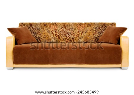 Studio shot of a fancy-decorated sofa on white background - stock photo