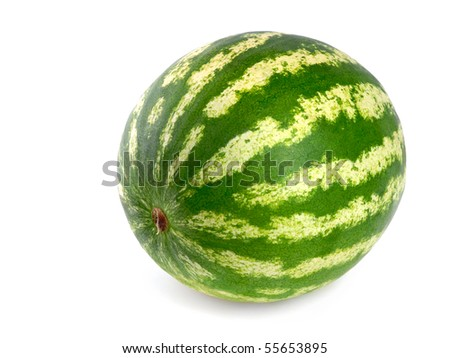 Studio shot of a flawless whole watermelon isolated on pure white - stock photo