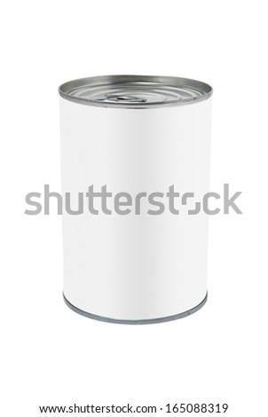 Studio shot of a food tin can with plain white label, isolated on white with path