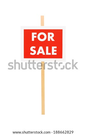 Studio shot of a for sale sign isolated on white background
