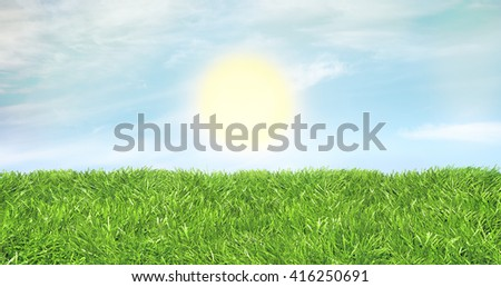 Studio shot of a green lawn banner against a warm blue sky and sun rising. Warm backdrop. - stock photo