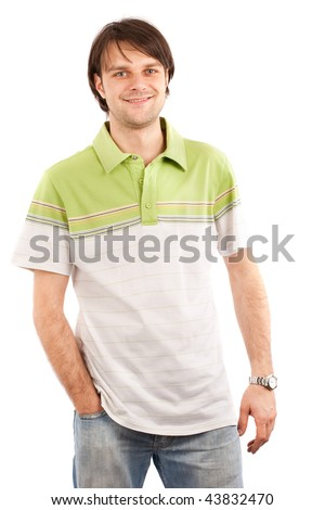 Studio shot of a handsome young man in T-shirt - stock photo