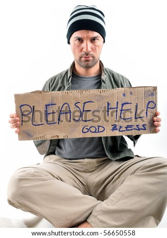 Studio shot of a homeless with asking for help - a series of HOMELESS images. - stock photo