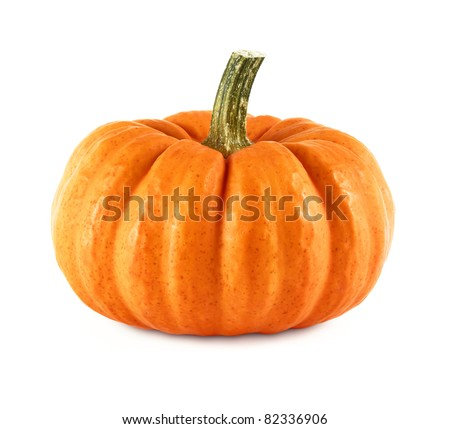 Studio shot of a nice ornamental pumpkin on pure white background - stock photo
