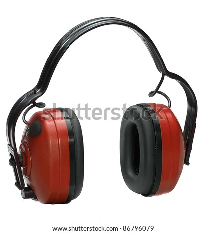 studio shot of a pair of earmuffs, cutout with clipping path