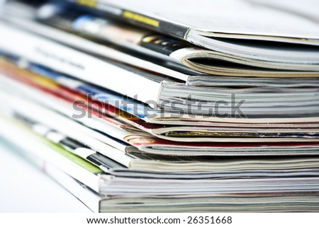 Studio shot of a pile of magazines
