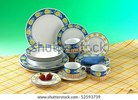 Studio shot of a set of tableware. - stock photo