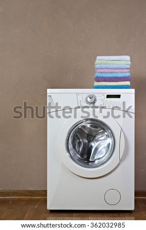Studio shot of a washing machine - stock photo