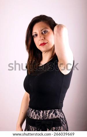 Studio shot of a woman on white background - stock photo